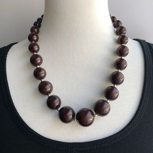 Jewelry - mahogany round bead necklace vintage style